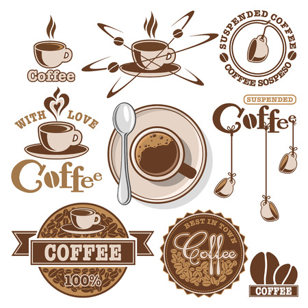 suspended: Set of desined vector coffee elements, icons and labels Illustration