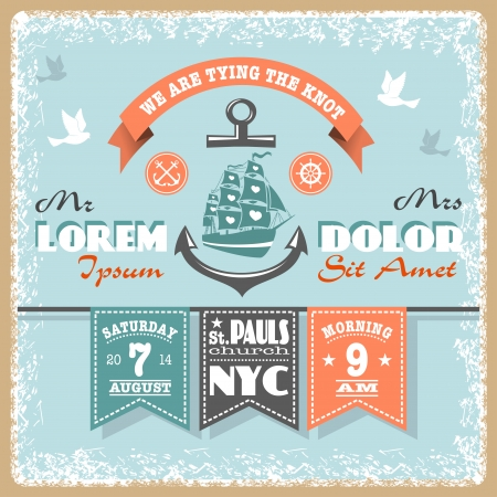 Nautical wedding invitation with designed nautical elements  Sailor theme Stock Vector - 23292205
