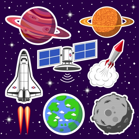 Collection of spaceships and planets, space theme Vector