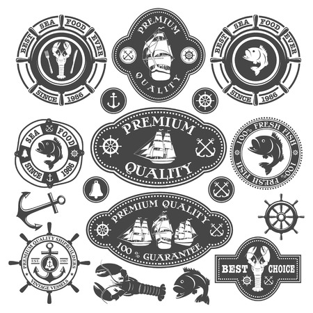 nautical vessel: Nautical labels set Illustration