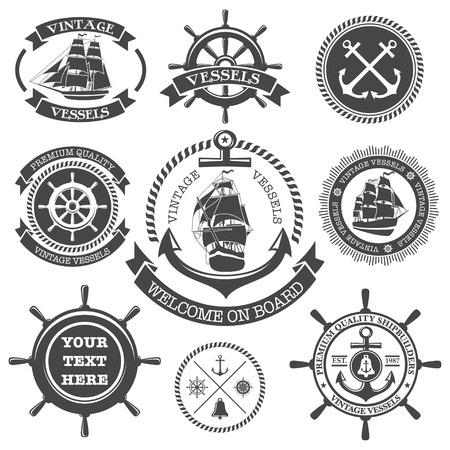 navios: Jogo das etiquetas n�uticas vintage, �cones e elementos de design