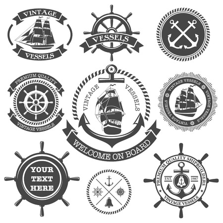 boat wheel: Set of vintage nautical labels, icons and design elements