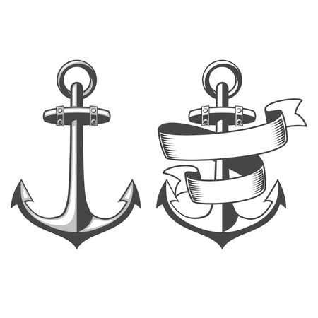 Designed nautical anchors Vector