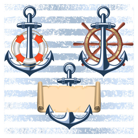 scroll wheel: Collection of nautical designed elements Illustration