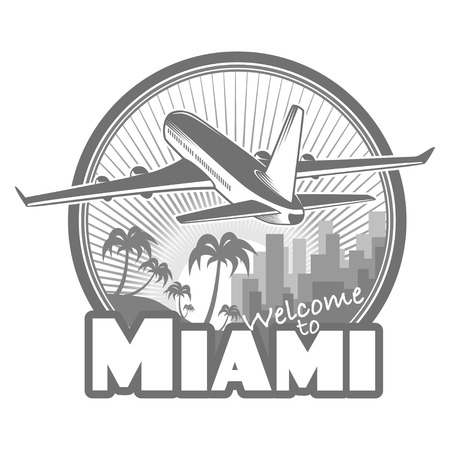 miami sunset: designed travel label, Miami