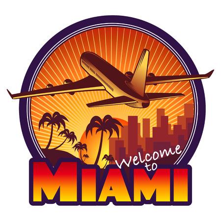 designed travel label, Miami Vector