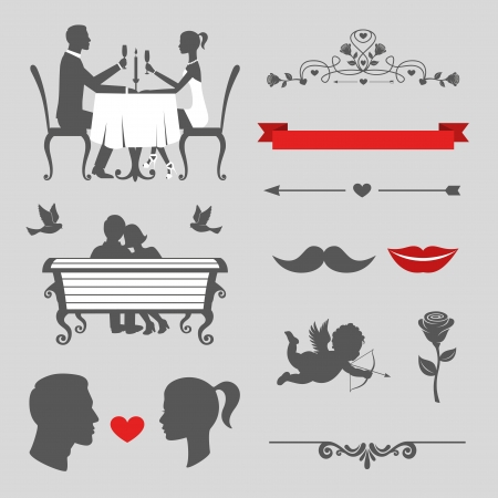 Set of valentines day and wedding vintage design elements, designers toolkit Vector