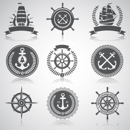 nautical star: Set of nautical emblems