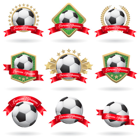 Set of soccer labels and emblems Vector
