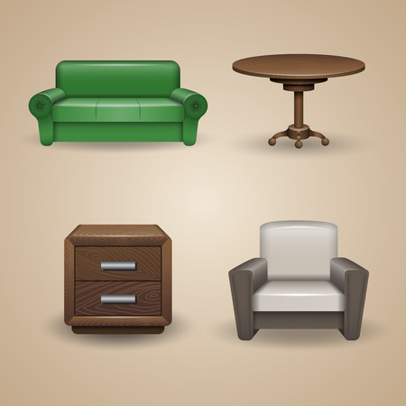 Set of designed furniture elements, icons Vector