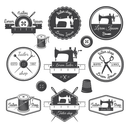 sewing machines: Set of vintage tailor labels, emblems and designed elements