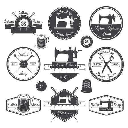 n hmaschine: Set von Vintage-Schneider-Etiketten, Embleme und Designelemente, Illustration