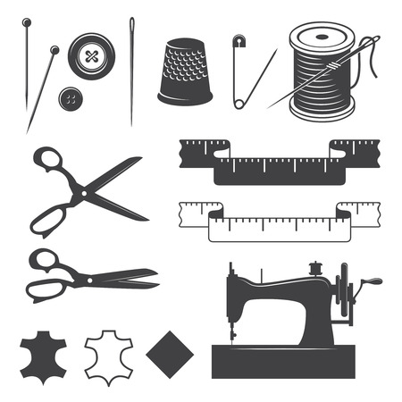 sew label: Set of sewing desinged elements