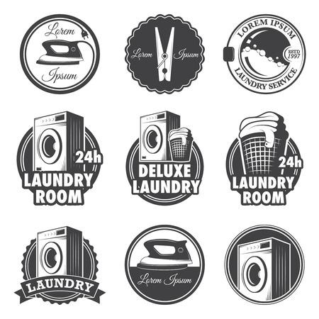 hierro: Conjunto de emblemas de lavandería vintage, etiquetas y elementos diseñados