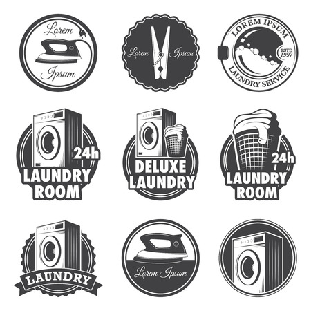 machine: Set of vintage laundry emblems, labels and designed elements  Illustration