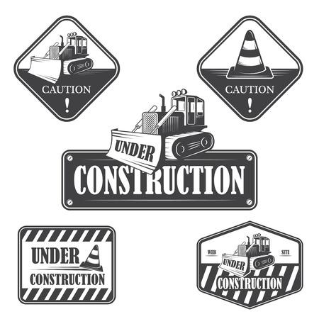 Set of under construction emblems, labels and designed elements Vector