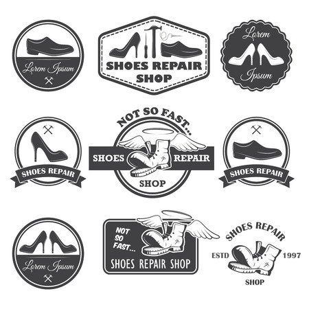 Set of vintage shoes repair labels, emblems and designed elements  Ilustração
