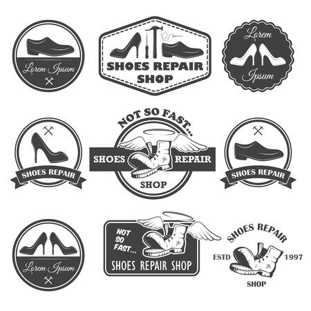 awl: Set of vintage shoes repair labels, emblems and designed elements  Illustration