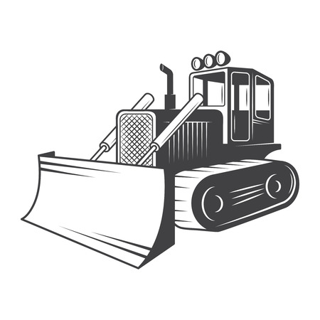 Vector illustration of bulldozer Black and white