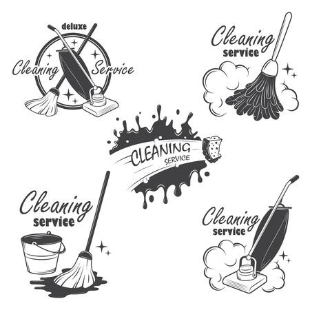 servicio domestico: Conjunto de emblemas de servicios de limpieza, las etiquetas y los elementos diseñados también pueden ser utilizados como logos para su empresa o proyecto individual Todos los elementos son editables 100 Vectores