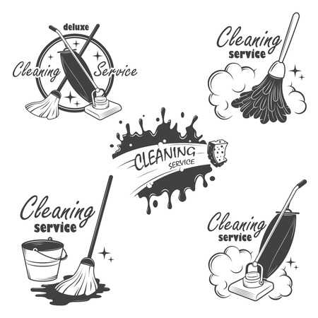 dweilen: Set van schoonmaak emblemen, etiketten en ontworpen elementen ook kan worden gebruikt als logo voor uw bedrijf of enkel project Alle elementen zijn 100 bewerkbare Stock Illustratie