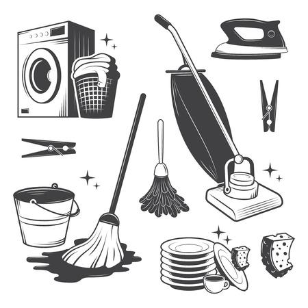 vacuuming: Set di attrezzi in bianco e nero di pulizia epoca