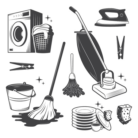 Set of black and white vintage cleaning tools  Vector