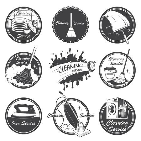 Set di emblemi servizio di pulizia, etichette ed elementi progettati Inoltre può essere utilizzato come logo per la vostra azienda o singolo progetto Tutti gli elementi sono modificabili 100 Archivio Fotografico - 29424737