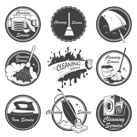 Set of cleaning service emblems, labels and designed elements  Also can be used as logos for your company or single project  All elements are 100  editable