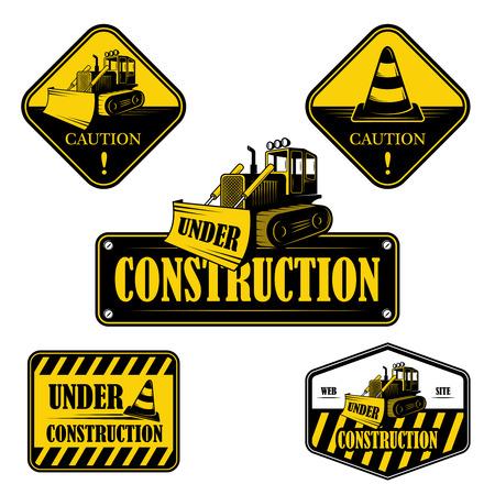 Set of under construction emblems, labels and designed elements 2 Vector