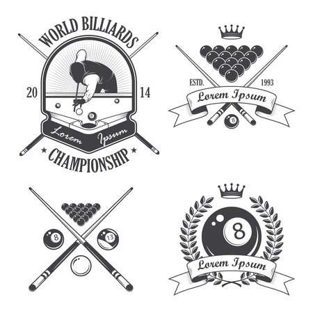 pool hall: Set of billiards emblems labels and designed elements
