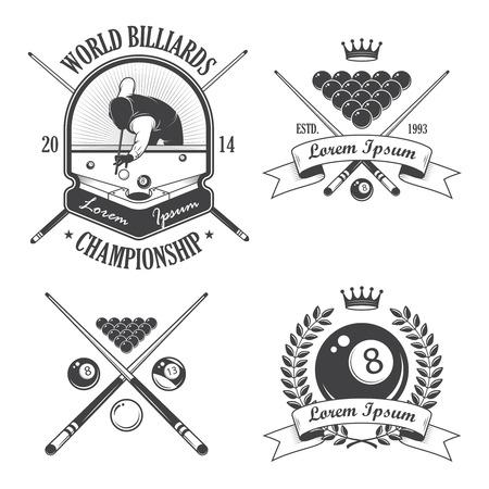 Set van biljart emblemen labels en ontworpen elementen Vector Illustratie