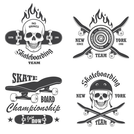 Set of skateboarding emblems, labels and designed elements. Set 1