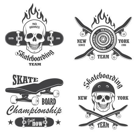 Set of skateboarding emblems, labels and designed elements. Set 1