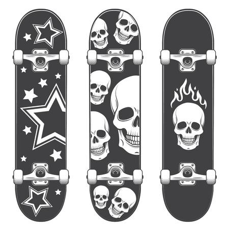 Conjunto de fondos de skate. Diseño del monopatín Ilustración de vector