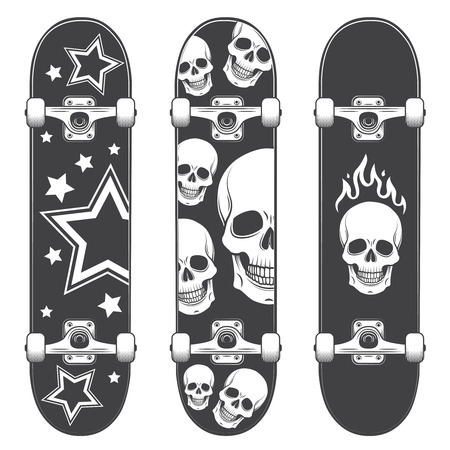 Set of skateboard backgrounds. Skateboard design Vector