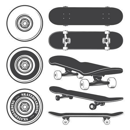 스케이트 보드와 스케이트 보드 바퀴의 집합입니다.