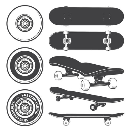 skate: Set of skateboards and skateboarding wheels. Illustration
