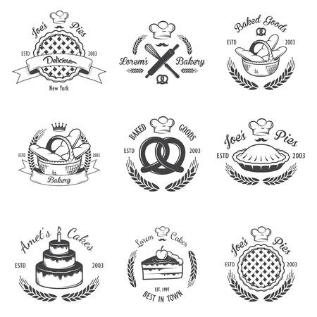Set di emblemi d'epoca da forno in bianco e nero, etichette ed elementi progettati.