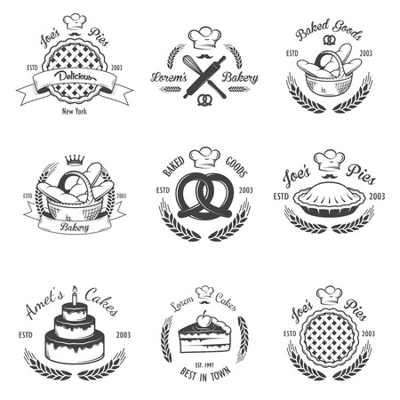 Set of vintage black and white bakery emblems, labels and designed elements.