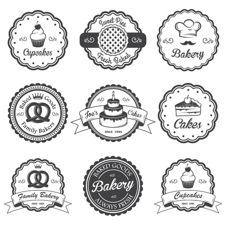 bakery products: Set of vintage black and white bakery emblems, labels and designed elements.