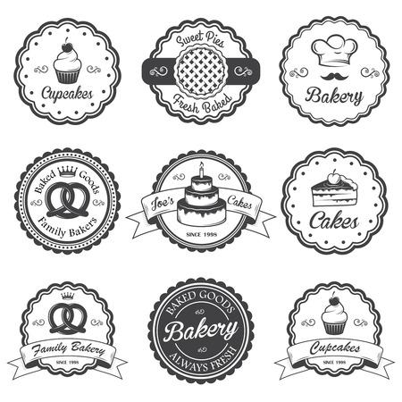 Set of vintage black and white bakery emblems, labels and designed elements.
