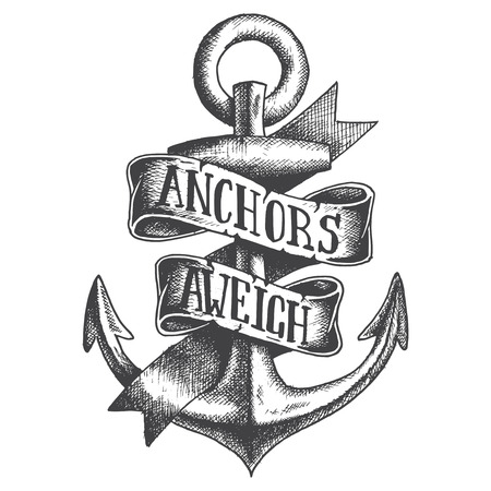 ancre marine: Hand Drawn Ancre avec ruban