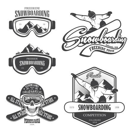 neve montagne: Set di emblemi snowboard, etichette ed elementi progettati. Vettoriali