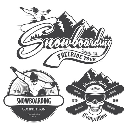 Set of snowboarding emblems, labels and designed elements.  Vector