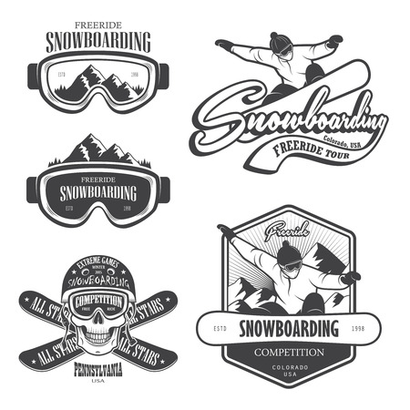Zestaw emblematów na snowboardzie, etykiet i zaprojektowanych elementów.