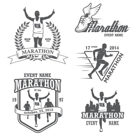 Set of running marathon and jogging emblems, labels and badges.  Vector