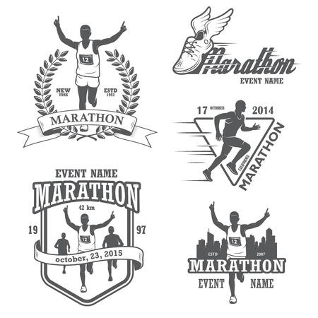 Set van hardlopen marathon en joggen emblemen, etiketten en insignes.