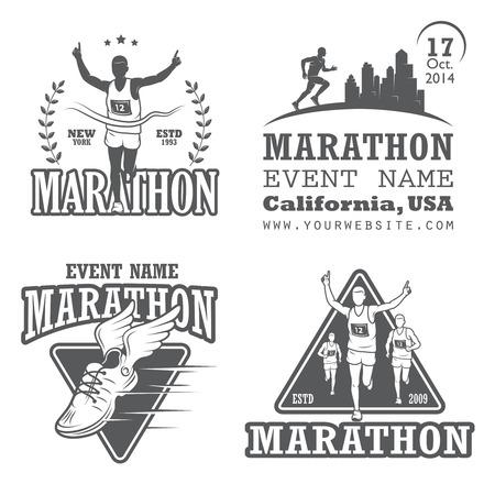 マラソンやジョギングのエンブレム、ラベルおよびバッジを実行中のセット。