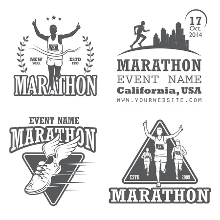 Set of running marathon and jogging emblems, labels and badges.  Çizim
